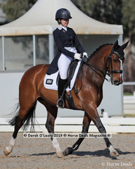 """Winners in the Advanced Championship, Sally Toulmin and """"Roxleigh Frangelica"""" finishing on a score of 30 points"""