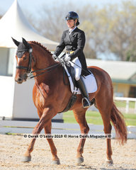 "Karen Blythe rode ""Lugano DK"" in the FEI Prix St George on Saturday placing 3rd with a score of 64.485%"