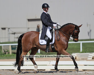 """Campbell Baxter rode """"Heatherton Park Rapscallion"""" in the Prix St George Inter 1 Championship, placing 2nd on 29 points"""
