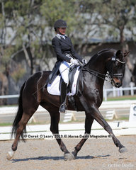 """Becky Sellick placed 4th in the Prix St George Inter 1 Championship  riding """"Fiderhall"""" with a score of 27 points"""