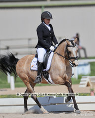 """Jodie Barton placed 2nd in the Elementary 3a/3b championship riding""""Rockfields Cioccolata"""" with a score of 29 points"""