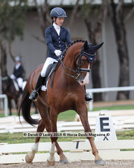 "Melissa Robertson rode ""Rock Royaltee"" in the Medium 4B on Sunday placing 5th with a score of 63.851%"
