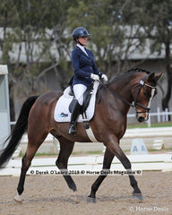 """Kate Frost placed 2nd in the Advanced 5B on Sunday riding """"Isle of Munich"""" with a score of 62.568%"""