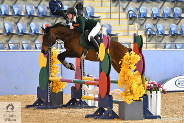 Bethany Hirst from Tasmania rode a nice clear rode aboard Entally Whiskey No Ice  in the riding phase of the Junior Tetathlon.