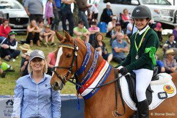 Dressage section sponsor, Alison Kelleher from Ceva presented Chloe Daun from Tasmania and PEC Barindale Grandeur with the Champion Sub-Junior Preliminary Dressage award.