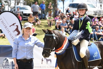 Dressage section sponsor, Alison Kelleher from Ceva presented Molly Callinan from NSW and Merrindale De Niro with the Champion Sub-Junior Elementary Dressage award.