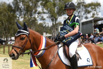 Keira Gibbs from Victoria rode Twins River Jacquimo to take out the Sub-Juniors Showjumping Championship.