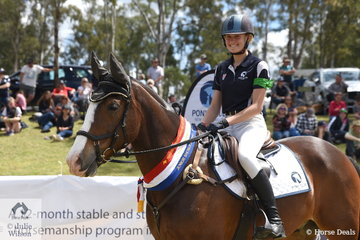 Tori Glass representing Victoria rode Bonnie Valley Nobucks Boris to take out the Junior Showjumping equal Championship.