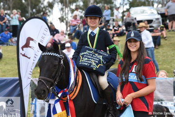 Formal Gymkhana section sponsor NEG's representative Molly Evans presented Robin Hentry and Radnor Sunrise with the Sub-Junior Gymkhana Championship award.