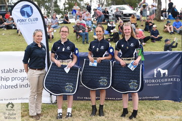 Event sponsor, Tracy O'Hara from Thorougbred Industry Careers, presented the Victorian Junior Team (Annabelle Ennis-Wert, Kira Hetherton, Tiahn Barnard and Rose Morris) the Quiz Championship award.