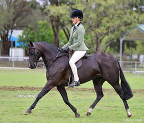 """Mia Mondon-Skinner rode Tyler Sams' exhibit """"Pocket Watch"""" to win Champion Child's Large Show Hunter Pony, they also finished Top 10 in the Large Show Hunter Pony of the Year event."""
