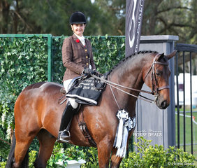 """Runner Up Large Show Hunter Hack """"Cooramin Winterfell Hit"""" and Bridget Sell."""