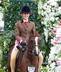"""Champion Preliminary Small Show Hunter Pony """"DP Derby"""" and Cherie Spinks."""