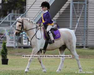 "Scarlett Robinson representing Portarlington Pony Club rode ""Peter Pan"" in the Pony Club Rider 7 years and under 10 years"