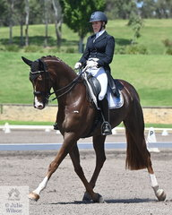 Gina Montgomery rode Amanda Jakins', well performed Artes Lauries Gift to fourth place in the IRT FEI Prix St Georges Championship with a score of 70.41%.