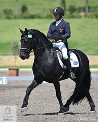 Jeremy Janjic rode Katrina Routson's Friesian stallion, Bastiaan 510 in the IRT FEI Prix St Georges. There were 44 competitors in the strong prix st George field.