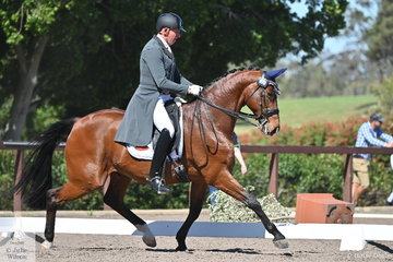 The first day of the Australian Dressage Championships started warm but then a strong, windy cold change came through blowing down the dressage arenas, letters, trees and had rubbish blowing about the place. Sarah Miocevich's, Wise Lord ridden by Mark Kiddle was not impressed with the flying objects but tried his best in the IRT FEI Prix St Georges.