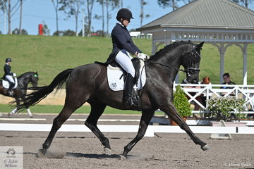 Natasha Althoff-Kelley rode Kylie Ridgeway's, Wessel to finish mid field in the IRT FEI Prix St Georges with a score of 66.14%.
