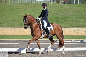 Riley Alexander rode Jane Farrell's, MI Sirtainly Sir to second place in the IRT FEI Prix St Georges with a score of 71.52%.