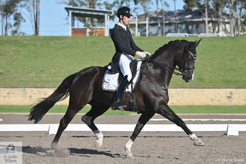 Jayden Brown rode the Lauren George Family Trust's, Davinci L to win the IRT FEI Prix St Georges with a score of 72.35%.