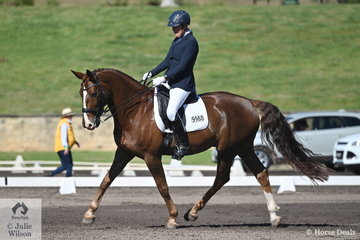 Dorothea Lungershausen rode her Eminent in the RHS Dressage EA Medium Championship, on the final day of the Australian Dressage Championships.