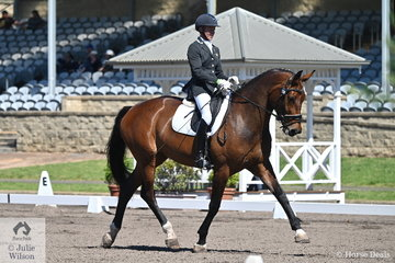 Ruth Schneeberger from South Australia rode her Miramar Serene to eight place in the RHS Dressage EA Medium 4B.