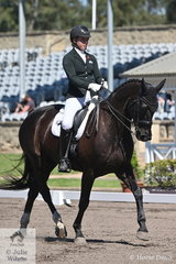 Hope Beerling rode her Remi Downunder to seventh place in the RHS Dressage EA Medium 4C.