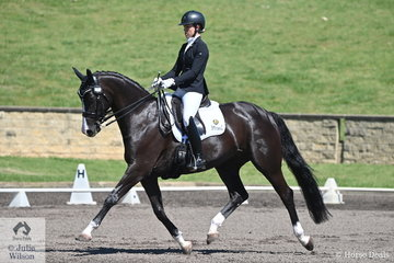 Robbie McKinnon rode Jane Bartram's, beautiful Hollends Bend Rococo to second place in the RHS Dressage EA Medium 4C scoring 71.58%.