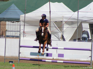 LIz Boneham in the showjumping