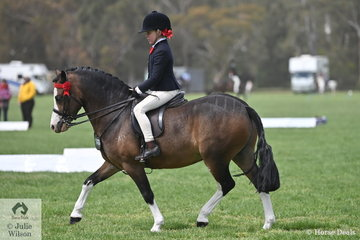 Charlotte Falckh is pictured aboard the Falckh and Ivory nomination, 'Madison Park Lord Nelson' during the class for Rider 6 AU 9 Years.