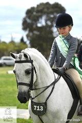 Evangeline Parsons rode , 'Koora Lyn Marley' to claim the Tamrie Park Rider 6 AU 9 Years Runner Up award.