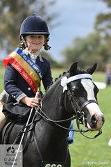 Alexandra Bowen rode Sandra Bowen's, Whitmere Royale' to claim the Tamrie Park Rider 6 AU 9 Years Championship.