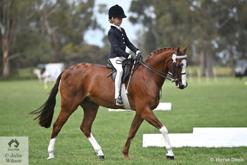 Mia Heinrich rode her well performed, 'Regalbrook Razzle Dazzle' to claim the Rider 9 AU 12 Years Championship at the 2019 edition of the SHCV Southern Stars Championships.