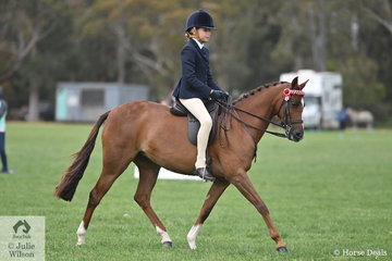 Grace Pihan is pictured aboard Sarah Pihan's, 'Tapu Genie' during the Rider 9 AU 12 Years Championship.