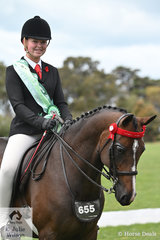 Sarah Allsopp rode her, 'KA Holly Supreme' to claim the Runner Up award in the Rider 15 AU 17 Years Championship.
