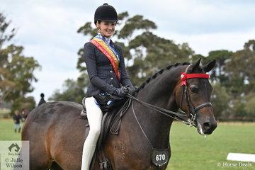 The well performed, Jessica Dertell rode Kate Dertell's, 'Eskara de Jeu' to claim the Rider 15 AU 17 Years Championship.