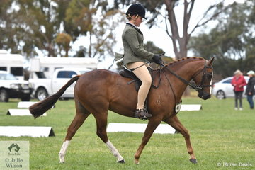 Georgia Custance rode her own, 'Colquhoun Park Remembrance' to make Top Ten in the Child's Large Show Hunter Pony Championship.
