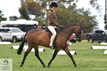 Georgia Nelson rode her own, 'Colquhoun Park Reminiscing' to make Top Ten in the Child's Large Show Hunter Pony Championships.