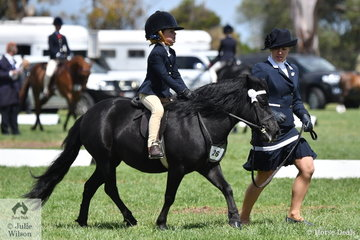 With mum, Jenna on the end of the lead, Chloe Backman rode well aboard her, 'Bojinda Little Kimiko' to make Top Ten in the Leading Rein Shetland Championship.
