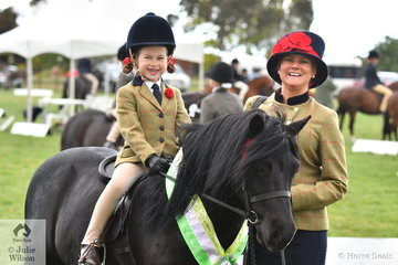Emma Richardson's well performed Shetland, 'Oak Park Paramount' was earlier declared Supreme Led Exhibit. Emma is pictured with the delightful pony ridden by Milla Romeo, claiming the Leading Rein Shetland Runner Up award.