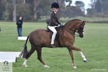 Jessica Sharpe from the Yarra Valley had a successful day. She rode her, Imperial Vagabond' to claim the Rider 12 AU 15 Years Championship and went on to take out the Child's Small Show Hunter Pony Championship with her delightful Welsh Pony.