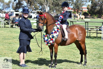 Sarah (leading) and Milla Romeo (riding) combined with Christy Pollock's, 'Andhara All Miracles' to claim the Leading Rein Pony Championship.