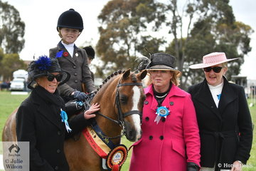 Jessica Sharpe demonstrated her talent today by claiming the Small Show Hunter Pony Championship with her own 'Imperial Vagabond' and also taking out the Runner Up award riding Ebonie Lee's, Arcadian Dreamboat'. Jessica and Vagabond are pictured with judges L-R, Sandra Henry, Margaret Fricker and Kerry Clarke.
