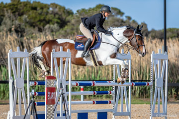 Hayley Morris and Wreck It Ralph.  Hayley hails from New Zealand and is currently a team member of Rangeview Farm Equestrian in Kalbar, QLD. They placed 4th in event 2a Open 110cm - a great start to her road trip competing at Boneo, Australian Showjumping Championships and Adelaide.