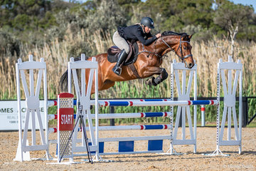 Lucy Evans, runner up in the Boneo Park Young Rider Series shown here with Glenara Vintage Balou competing in the 2a 110cm Div A event.