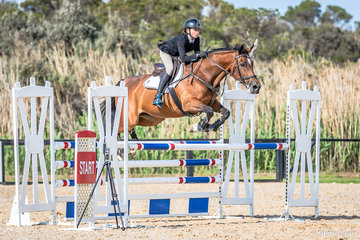 Hudson Craig, Mornington Peninsula  with Flash Dance DH had a nice calm and clear round in the 110cm on Day 1 at Boneo Park.It was a big day wth 66 riders competing in this event.