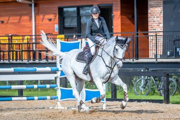 Kathy Ward, NSW and Nimcerto B second in the 2a. Open 110cm (Div A) Art 238.2.1 with a clear round and a time of  55.28 seconds. Kathy loves her show jumping and riding Nimcerto B previously competed by her daughter Jess O'Connell. The event was won by Bily Raymont with Bassina.
