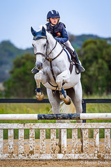 Harley McNaughton riding  Glen Cree Creedance in the 12 years & under 80cm Championship at Boneo Cup