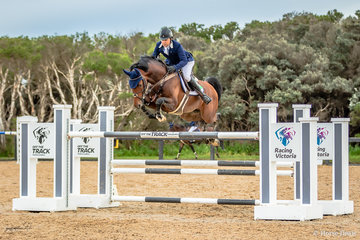 Phil Lever and his stallion Calvino from Somerville on Victoria's Mornington Peninsula.  The David Sheppard built course proved to be testing for both rider and horse with 69 starting the field was wittled down to 16 for the jump off