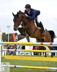 Successful Victorian jumping rider and dairy farmer, Andrew Lamb was flying solo at the Australian Championships this year. Wife and equally successful jumping rider, Ally was at home with new baby Evie. Andrew is pictured aboard, 'Denison Park Spartava' during the first round of the 2019 Keirnan Plant Hire Future Stars Final.